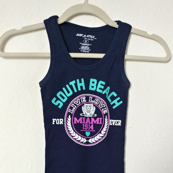 separation shoes bed6f 7e7b3 Miami south beach navy blue stretch tank